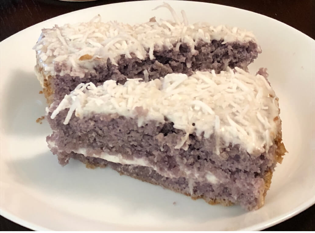 purple yam cake with coconut icing